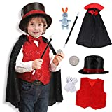 Tacobear 9Stk. Zauberer Kostüm Zubehör Set Kinder Magier Kinderkostüm Rollenspiel für Fasching Karneval Halloween Geburtstagsparty