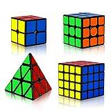 Coolzon Zauberwürfel Set, 4 Stück Speed Cube Set 2x2 3x3 4x4 Pyraminx Speedcube, 3D Puzzle Magic Cubes für Kinder Erwachsene Anfänger
